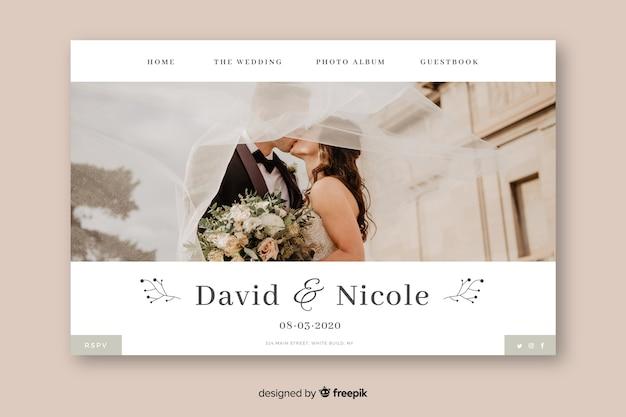 Página inicial do casamento de modelo com foto