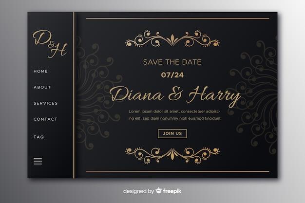 Página inicial do casamento do vintage