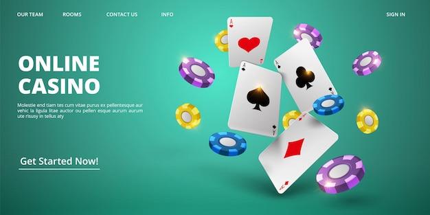 Página inicial do casino online. cartões e fichas realistas do vetor. modelo de banner da web do cassino. ilustração de jogo de pôquer, cartão de jackpot e jogos de azar