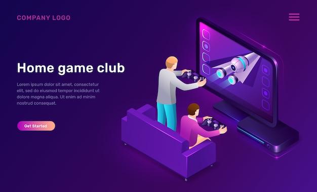 Página inicial do clube de jogos em casa