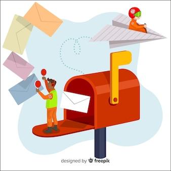 Página inicial do conceito de caixa de correio