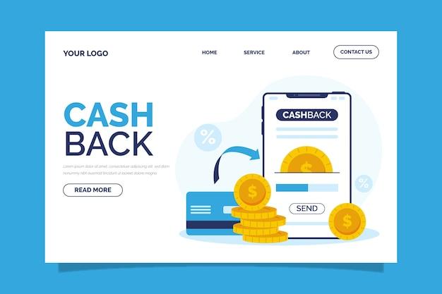 Página inicial do conceito de cashback