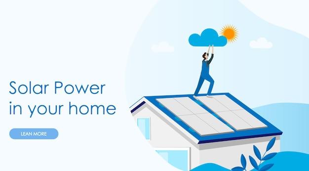 Página inicial do conceito de energia solar. casa do sistema de célula solar. painéis de energia para produzir eletricidade. modelo de site. ilustração vetorial plana