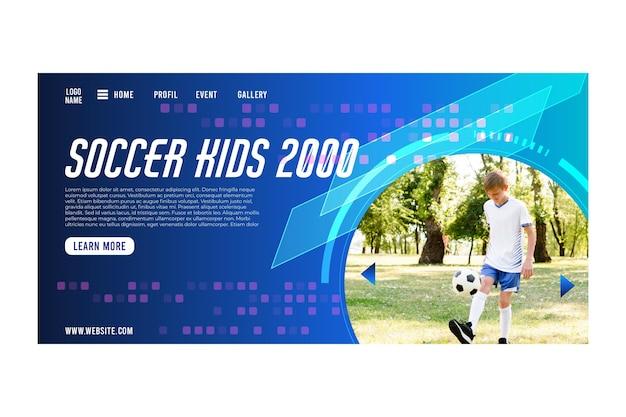 Página inicial do conceito de futebol