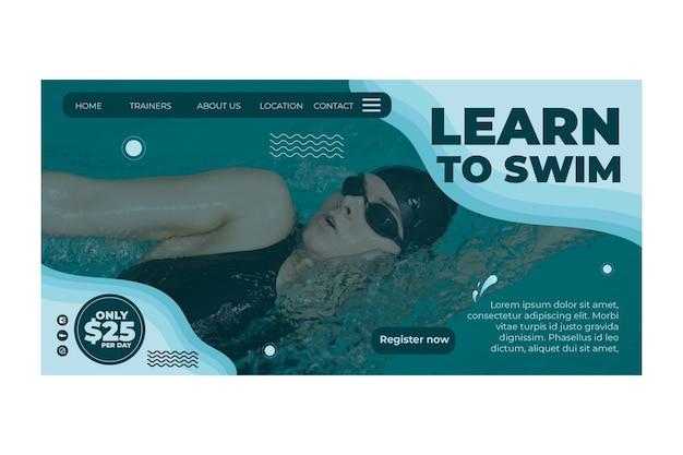 Página inicial do conceito de natação