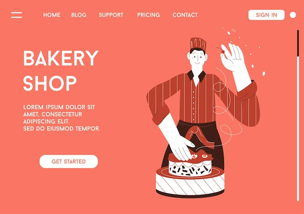 Página inicial do conceito de padaria