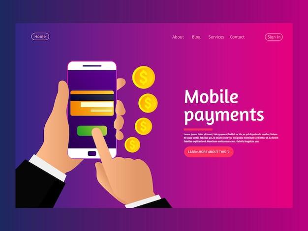 Página inicial do conceito de pagamentos móveis Vetor Premium