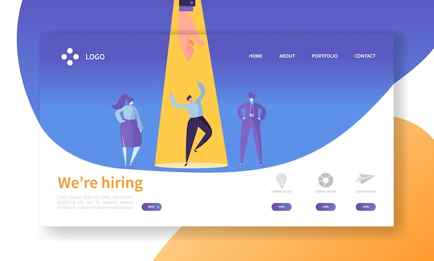 Página inicial do conceito de recrutamento de personagem de negócios.