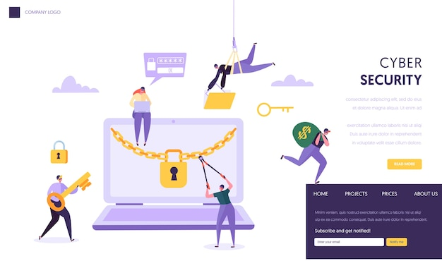 Página inicial do conceito de segurança de senha de internet. homem rouba dados financeiros seguros do laptop. site ou página da web de tecnologia de proteção de computador de ataque de hacker na internet. ilustração em vetor plana dos desenhos animados