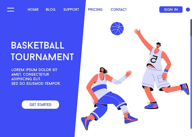 Página inicial do conceito de torneio de basquete