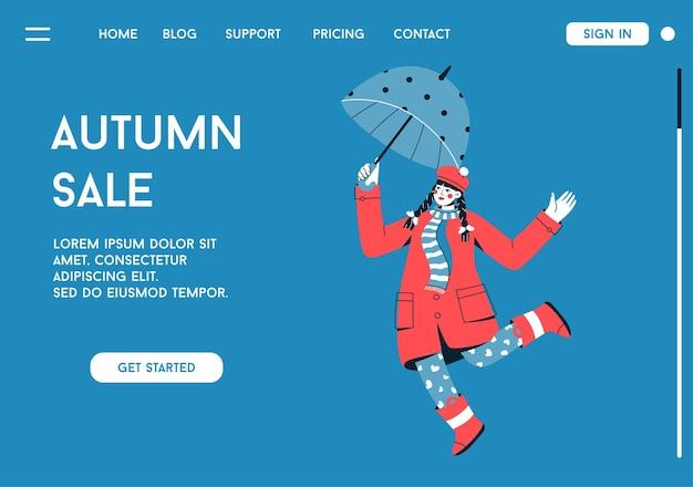 Página inicial do conceito de venda de outono