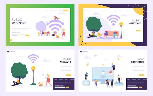 Página inicial do conceito de zona de ponto de acesso wifi público. personagens masculinos e femininos usam a internet no parque. pessoas com site ou página da web de laptop ou smartphone. ilustração em vetor plana de vídeo-conferência