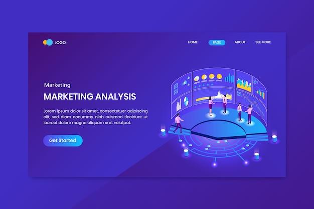Página inicial do conceito isométrico de análise de marketing