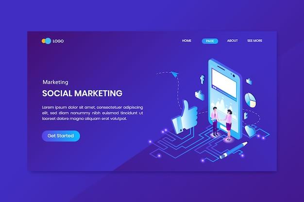 Página inicial do conceito isométrico de marketing de conversão