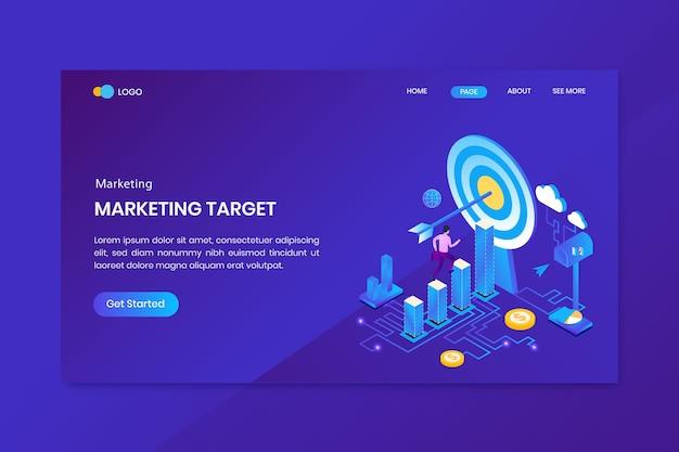Página inicial do conceito isométrico de marketing de destino comercial