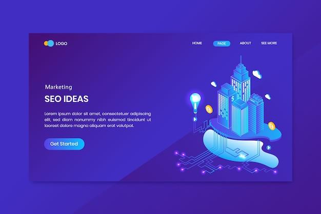 Página inicial do conceito isométrico de marketing de ideias de seo