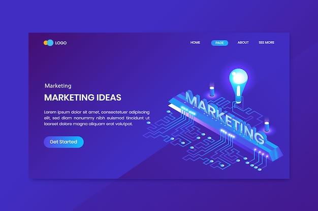Página inicial do conceito isométrico de marketing de ideias