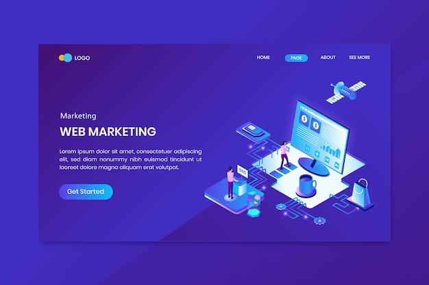 Página inicial do conceito isométrico de marketing na web