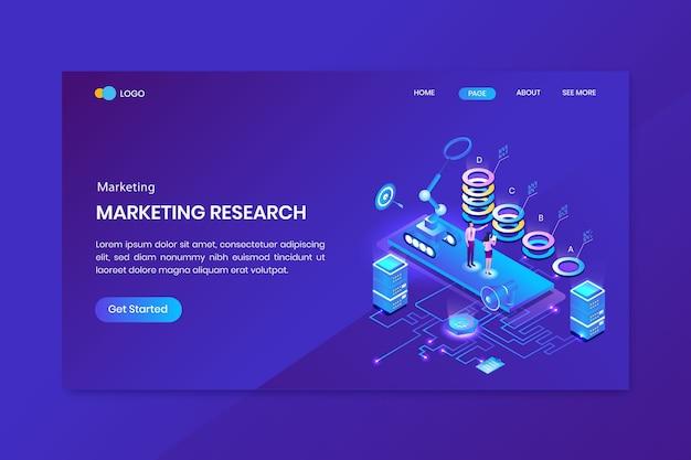 Página inicial do conceito isométrico de pesquisa de marketing