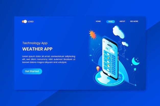 Página inicial do conceito isométrico do aplicativo de clima