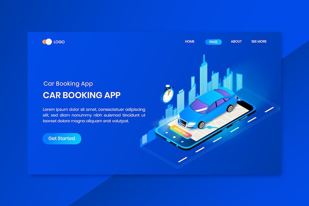 Página inicial do conceito isométrico do aplicativo de reservas de carros
