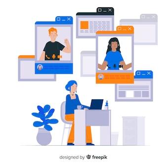 Página inicial do conceito que conecta equipes