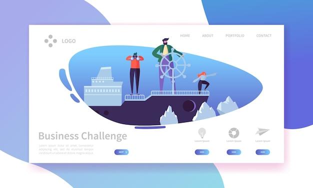 Página inicial do desafio empresarial. banner com personagens de pessoas no modelo de site do navio em águas perigosas.