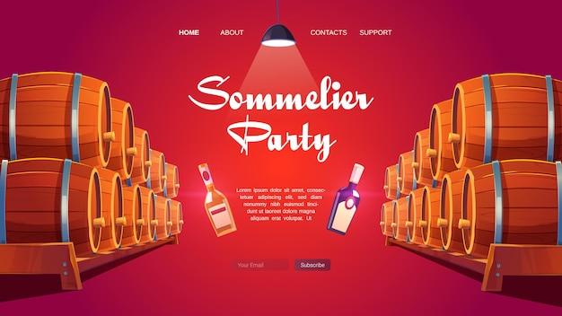 Página inicial do desenho animado da festa do sommelier