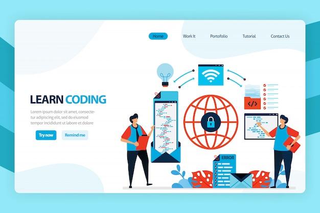 Página inicial do desenvolvimento da aprendizagem e programa simples de codificação.