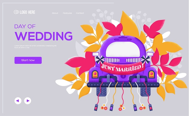 Página inicial do dia do casamento