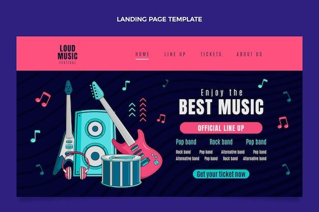 Página inicial do festival de música colorida desenhada à mão