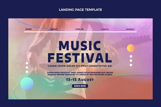 Página inicial do festival de música colorida gradiente