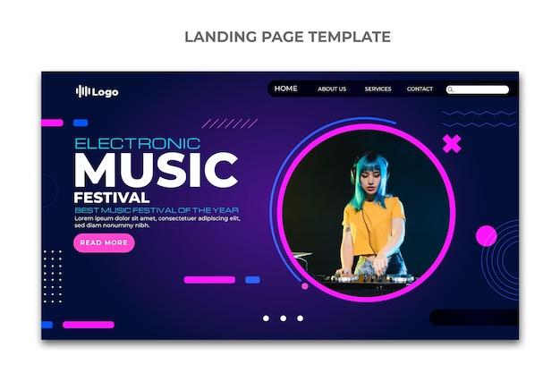 Página inicial do festival de música em meio-tom gradiente