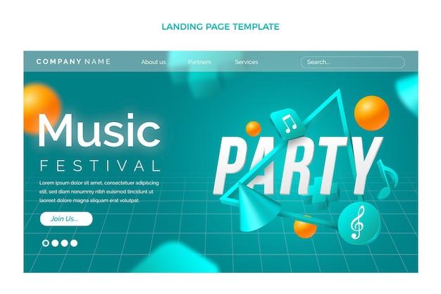 Página inicial do festival de música geométrica gradiente