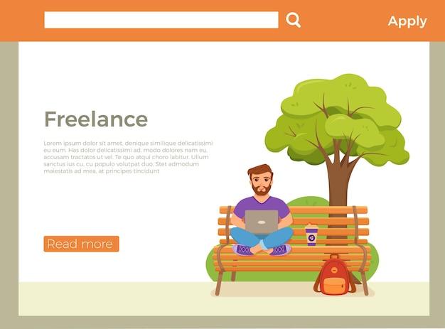 Página inicial do freelancer com jovens felizes trabalhando no banco de um parque com café