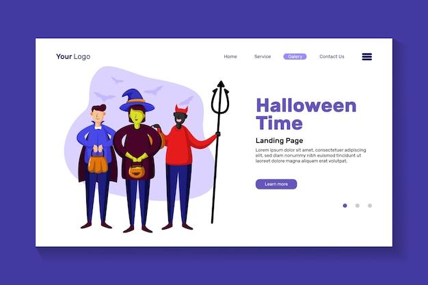 Página inicial do horário de halloween. pessoas vestindo fantasia de halloween