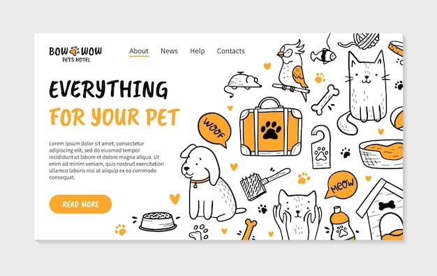 Página inicial do hotel para animais de estimação no estilo doodle