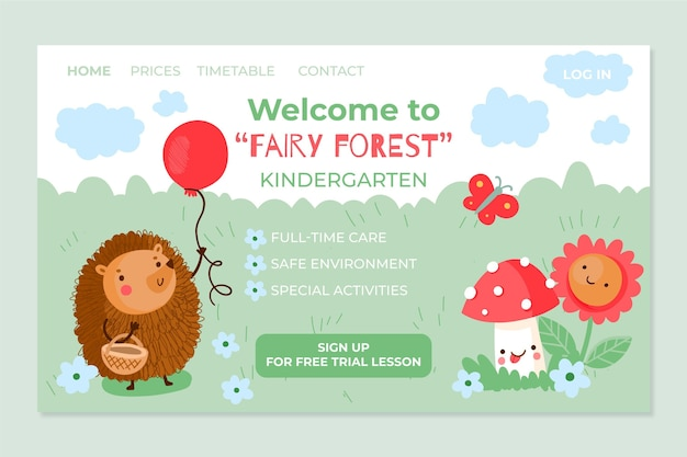 Página inicial do jardim de infância