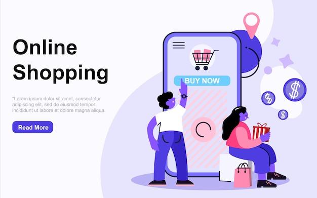 Página inicial do modelo compras conceito com caracteres de pessoas. design de página da web moderno design plano para site e site móvel. ilustração