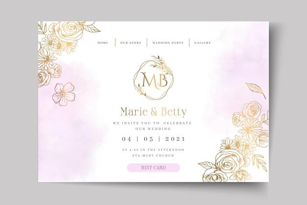 Página inicial do modelo de cartão de casamento floral