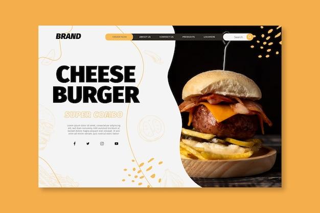Página inicial do modelo de comida americana