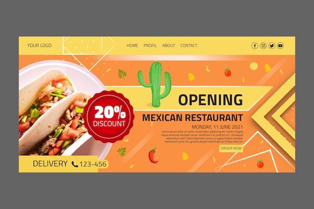 Página inicial do modelo de comida mexicana