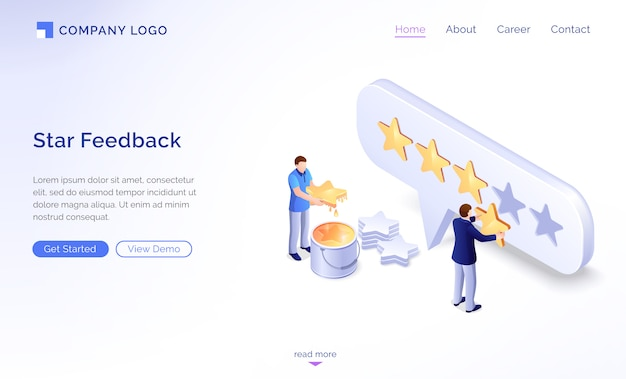 Página inicial do modelo de feedback de estrela