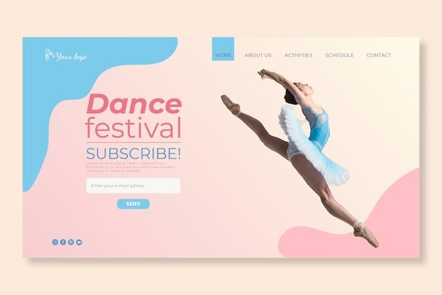 Página inicial do modelo de festival de dança