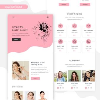 Página inicial do modelo de marketing por e-mail do salão de beleza spa