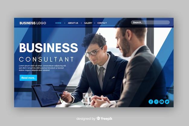 Página inicial do modelo de negócios com foto