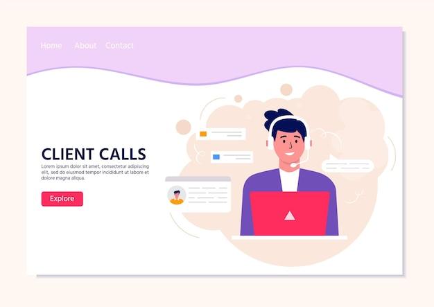 Página inicial do operador do call center para a web. trabalhadores de escritório sorridentes com personagens de desenhos animados de fones de ouvido. assistência a clientes, operador de linha direta, gerente de consultores, suporte ao cliente, chamadas de clientes
