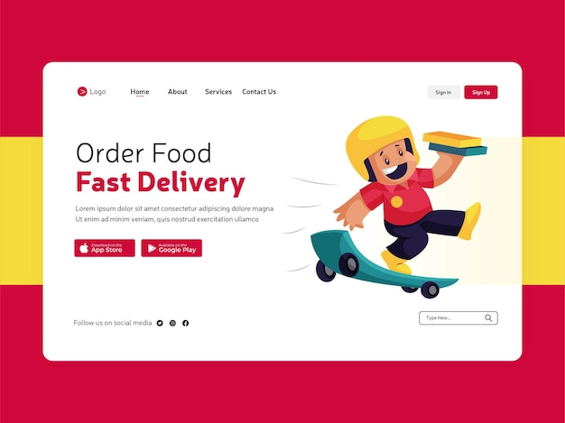 Página inicial do pedido de comida para entrega rápida