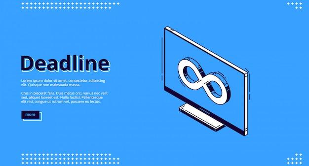 Página inicial do prazo final com ícone infinito