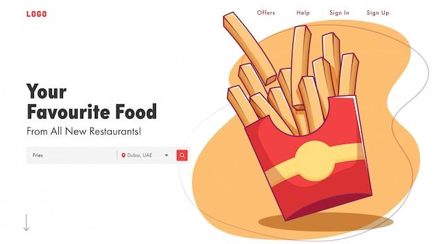 Página inicial do restaurante ou banner web com ilustração de batatas fritas.
